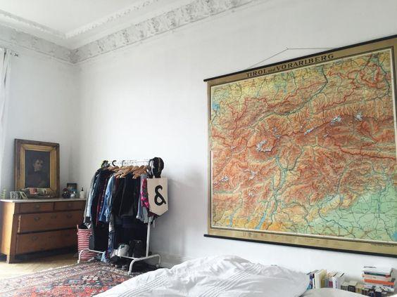 Eine Besondere Idee Grosse Weisse Wand Zu Dekorieren Die Landkarte Eignet Sich Sehr