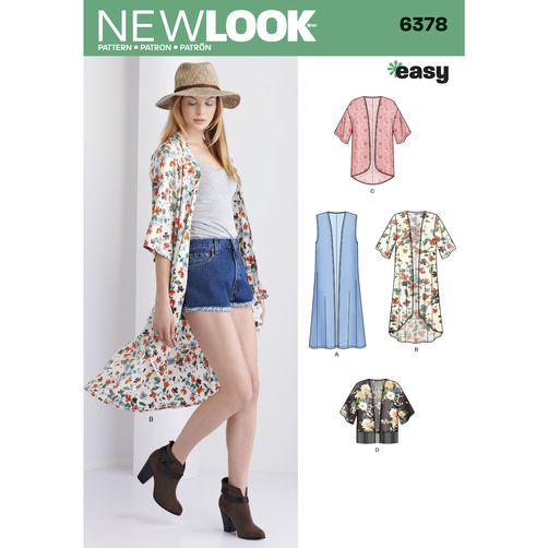 New Look Pattern 6378 Misses' Easy Kimonos with Length Variations: