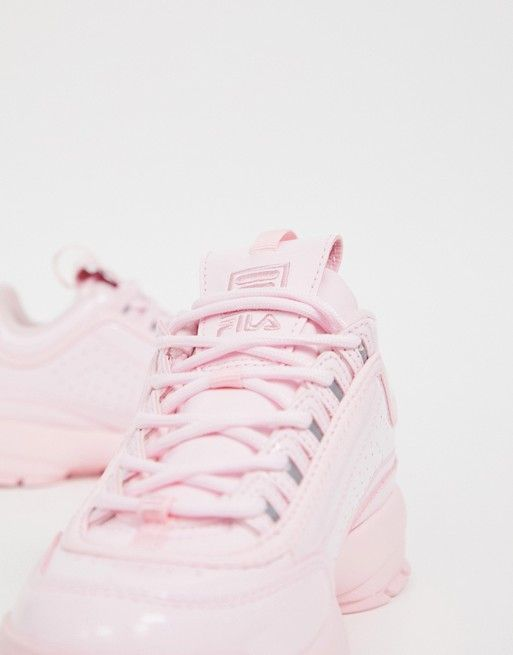 Fila | Fila Dusty Pink Disruptor II Premium Patent Trainers