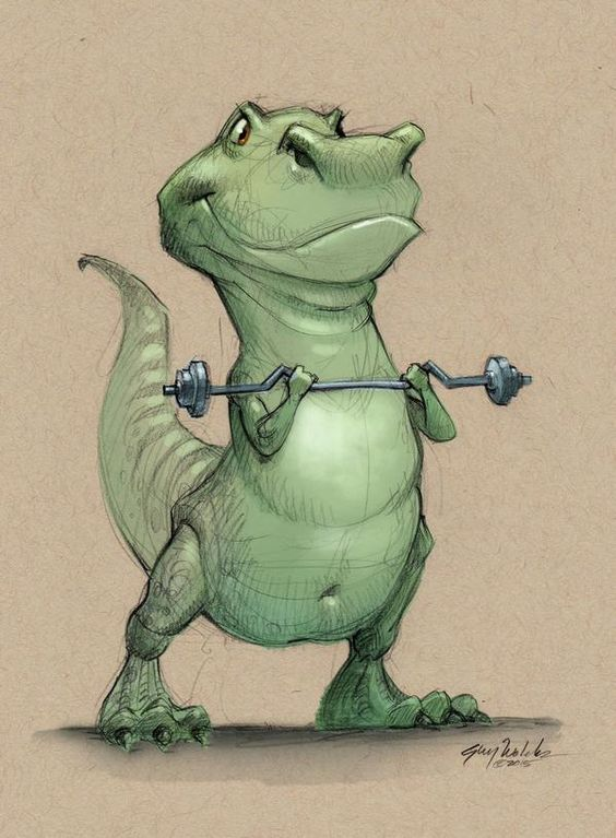 T-Rex working out, by Guy Wolek
