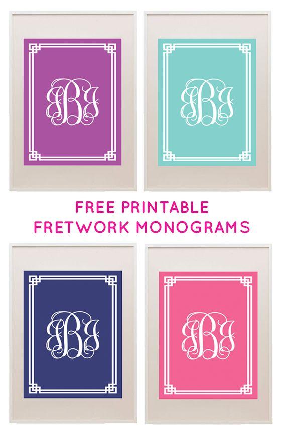Free printable monogram vintage and l39wren scott on pinterest for Free printable monogram initials