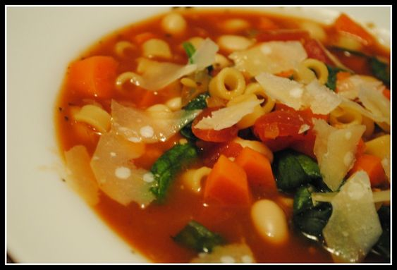 Minestrone (serves 10) 111 calories; 0.6 g. fat; o mg. cholesterol; 228 mg. sodium; 20 g. carbohydrate; 4.1 g. fiber; 5.5 g. protein