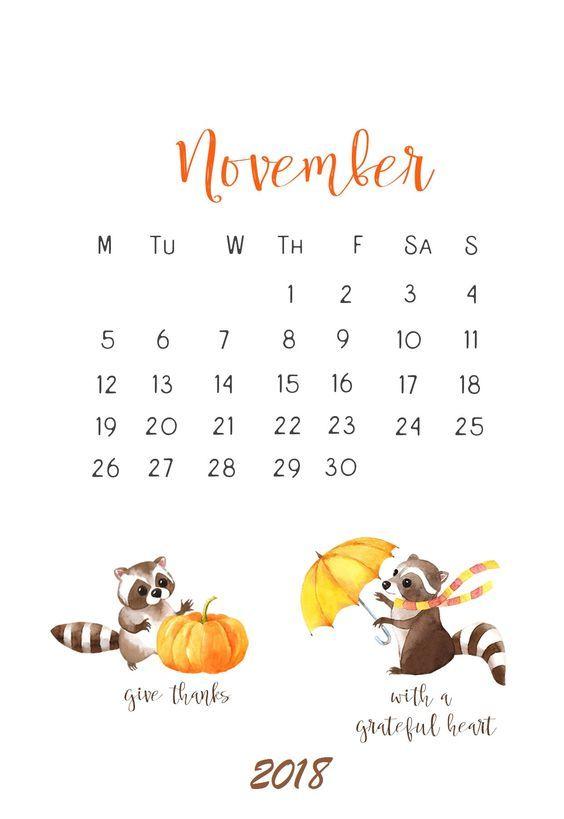 Cute November 2018 Design Calendar Printable In 2019