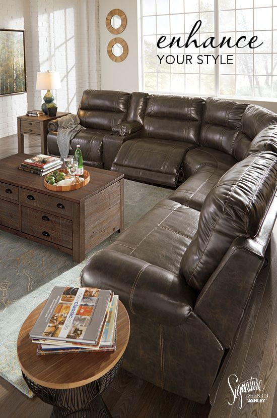 Enhance your style with a luxurious dual reclining sectional! Ashley Furniture - #AshleyFurniture #Sectionals | Stylish Sectionals | Pinterest | Living ... : leather sectional ashley - Sectionals, Sofas & Couches