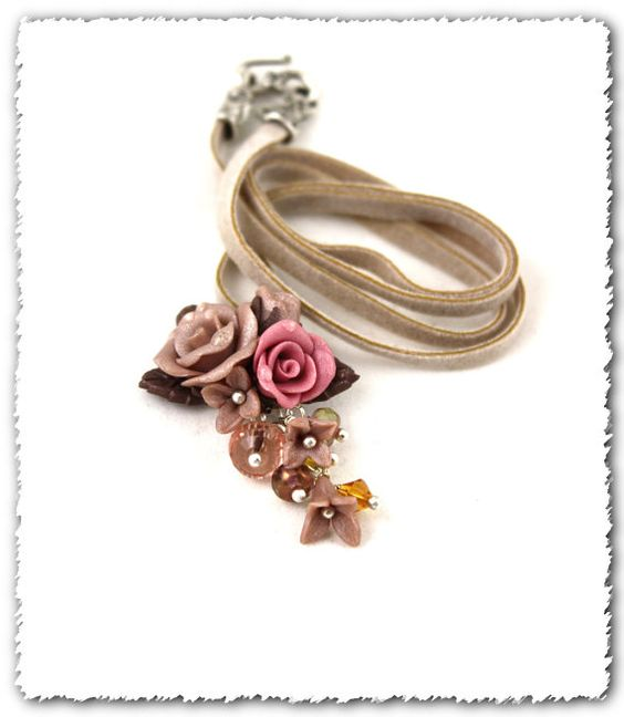 Creme Brulee/Hand Sculpted Roses, Flowers and Crystal Necklace  etsy.com $32