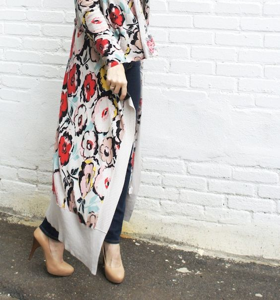 Boston fashion in a long floral sweater