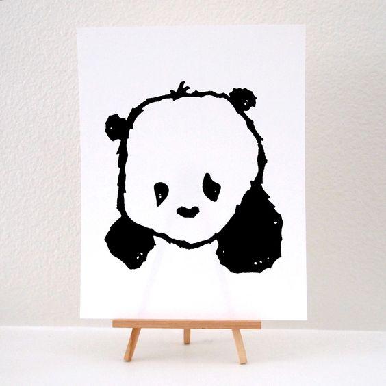 """Baby Panda"" Art Print / Steppie Clothing"