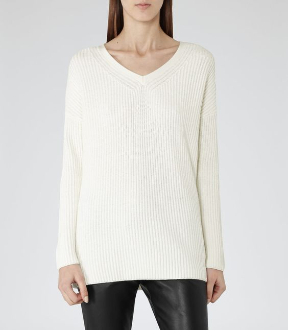 Womens Champagne Relaxed Ribbed Jumper - Reiss Cartagena