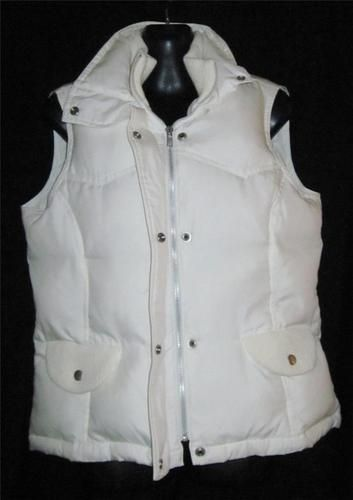 Bid starts at .99 cents  Banana Republic Medium Jacket Puffer Womens M Coat Off White ~