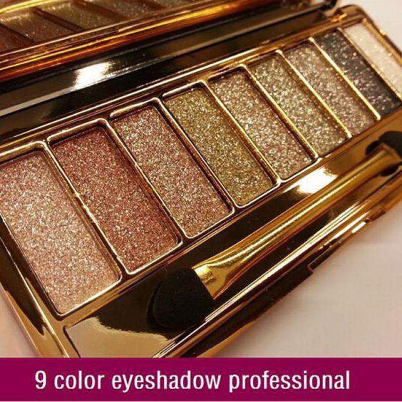 9 colors diamond eyeshadow eye shadow Palette & Makeup Cosmetic Brush Set #unbranded