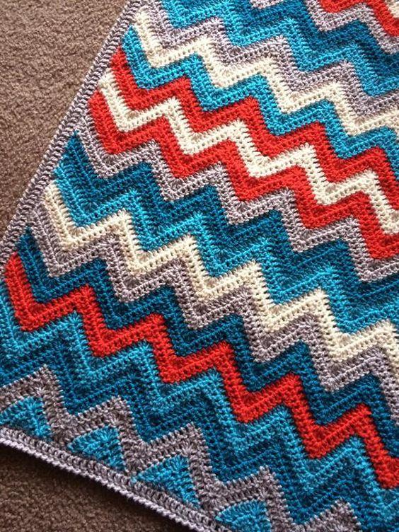 crochet blanket pattern chevrons   Blankets   Pinterest   Patrones ...