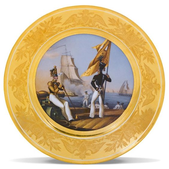 A porcelain military plate, Imperial Porcelain Manufactory, St. Petersburg, 1830