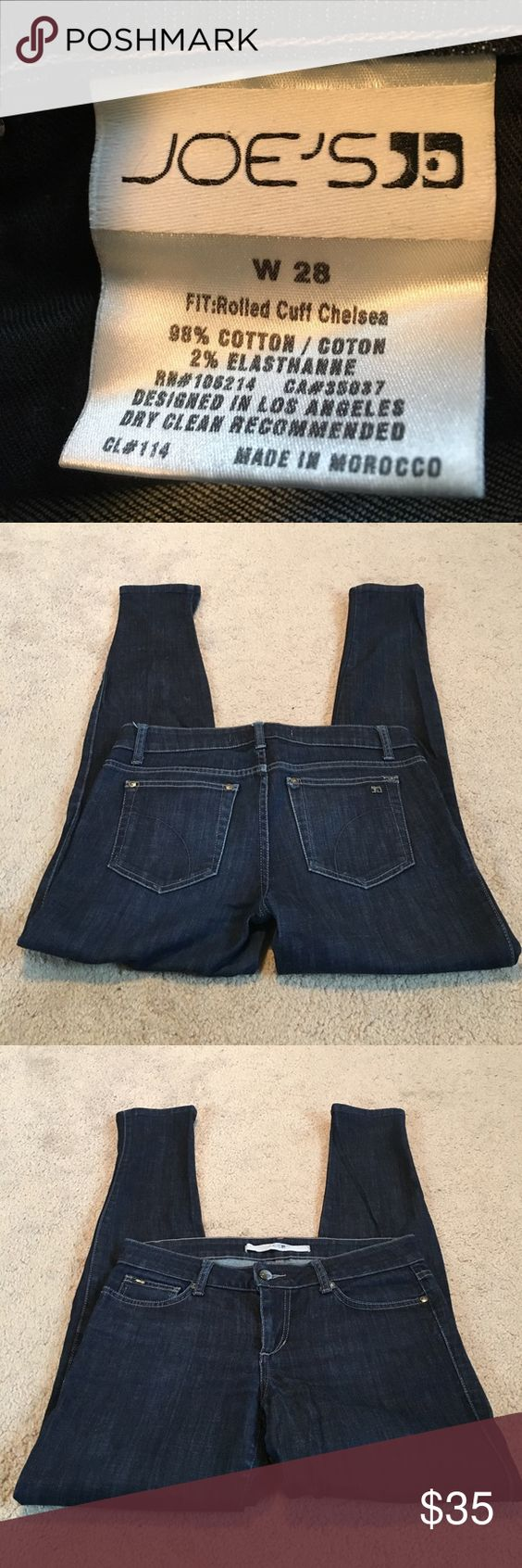"""Joe's Jeans! Joe's Jeans.  The fit is called. Rolled Cuff Chelsea.   Skinny jeans.  Size 28.  Inseam 29"""".  Excellent condition. Joe's Jeans Jeans Skinny"""