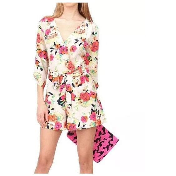 Floral Wrap Over Playsuit ($22) ❤ liked on Polyvore