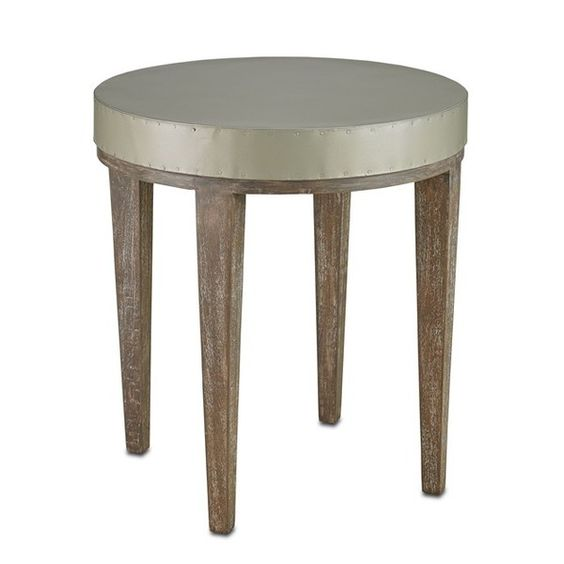 Wren Accent Table   Currey and Company ❤ liked on Polyvore featuring home, furniture, tables, accent tables, round occasional table, metal top table, circular table, round accent table and round table