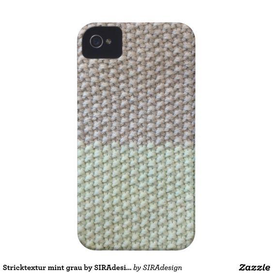 Stricktextur mint grau by SIRAdesign Vienna 2015 iPhone 4 Hülle