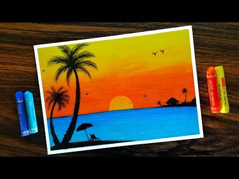 Beach Sunset Scenery For Beginners With Oil Pastel Step By Step
