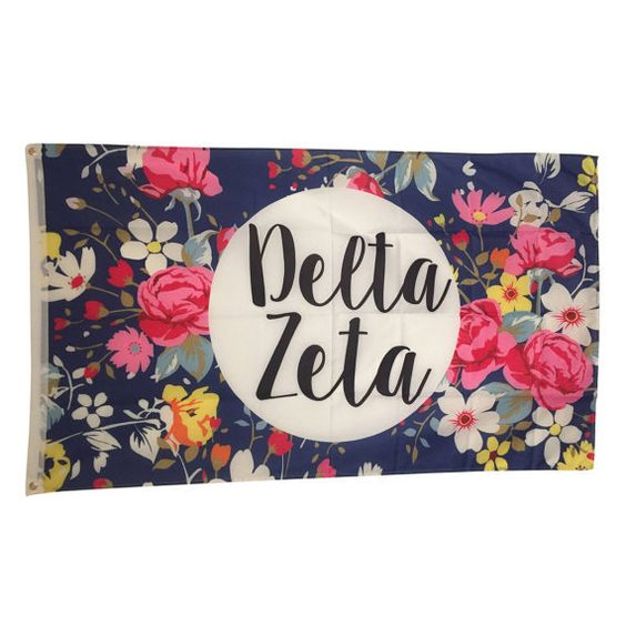 Delta Zeta Sorority Floral Flag - Brothers and Sisters' Greek Store