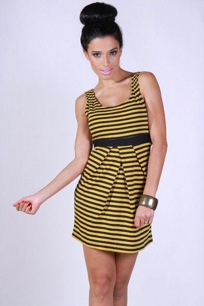 1015store.com-black and yellow stripe retro dress-$15.00  More ...