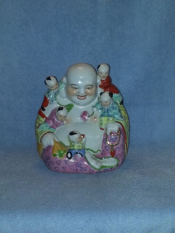 Asian Figurine  The Story Teller  Laughing by SandECollectibles