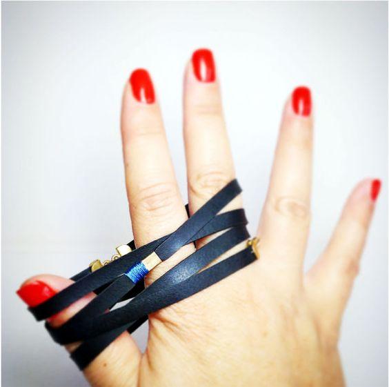 Men's warp black bracelet vegan leather bracelet by KerenMekler, $49.90