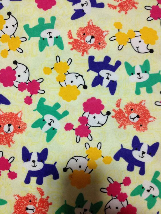 Pop of Color Pups Cotton Flannel/Sewing Craft Supplies/Home Decor/ Quilting/Winter Cotton Prints - pinned by pin4etsy.com