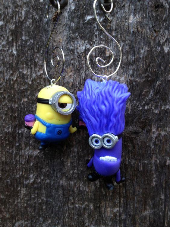 Stuart & Purple Minion Despicable Me figure ornaments made by me at EmeraldCityWorkshop