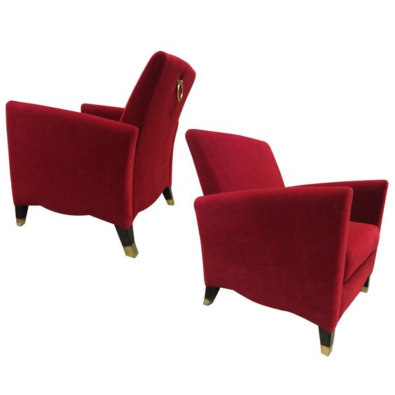 "Olivier Gagnère Rare Club Chairs, Model ""Marly"" newly covered 