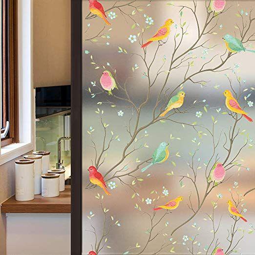 Amazon Com Coavas Privacy Window Film Non Adhesive Frosted Bird Window Film Decorative Glass Film Window Glass Design Window Film Privacy Window Film Designs