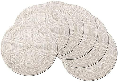 Amazon Com Shacos Round Placemats Set Of 6 Cotton Placemats Washable 15 Inch Table Mats For Kitchen Tables Ivory 6 Home Placemats Table Mats Kitchen Table