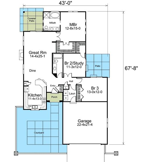 Plan 57245ha narrow lot courtyard home plan courtyards for U shaped home plans with courtyard