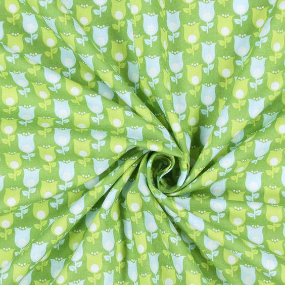 Cotton Tender Tulips 1 - Baumwolle - grün