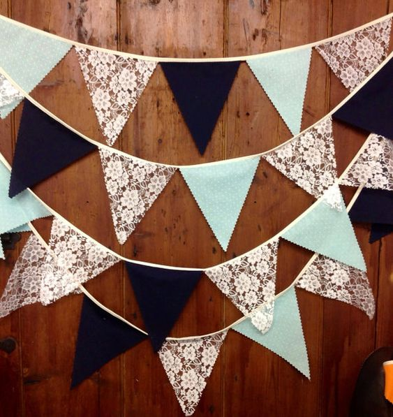 Ivory Lace Mint & Navy Wedding Bunting Flag to Flag Style 17ft 5mts 29 Flags Birthdays Showers Engagements Parties Special Events