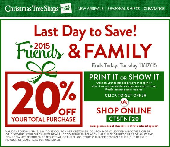 20 Off Everything Today At Christmas Tree Shops Or Online Via Promo Code Ctsfnf20 Christmas Tree Shop Coupon Apps Shopping Coupons
