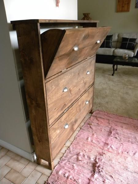 Shoe dresser   Ana White  I need to build this with 2 cupboards side by side and 1 cupboard tall to go under the entryway table. Then place baskets on top of this shoe dresser.