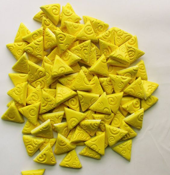 Mosaic Tile-1 Inch 75 pieces-embossed triangles by mosaicmonkey