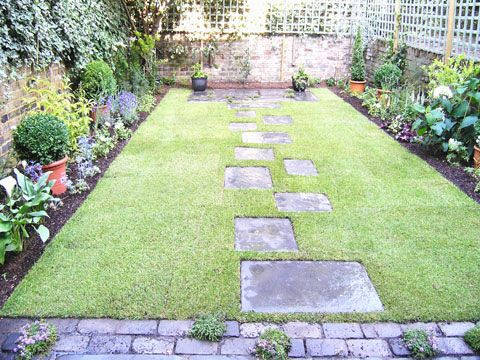 Gardens pathways and garden borders on pinterest for Modern low maintenance garden ideas