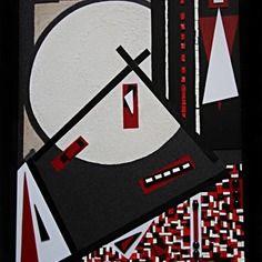 Tableau design rouge , blanc et noir