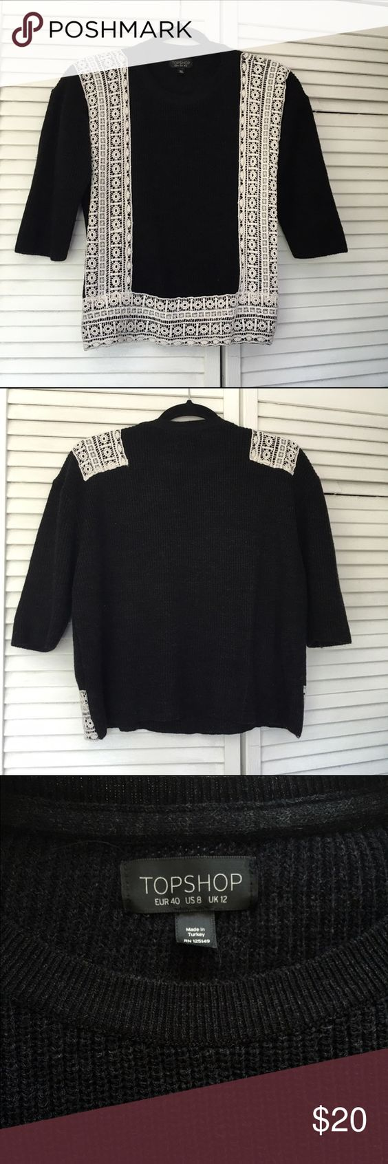 Topshop Knit Top Adorable black colored half sleeved sweater with beige lace accents  Size 8 Never worn! Topshop Tops Tees - Long Sleeve