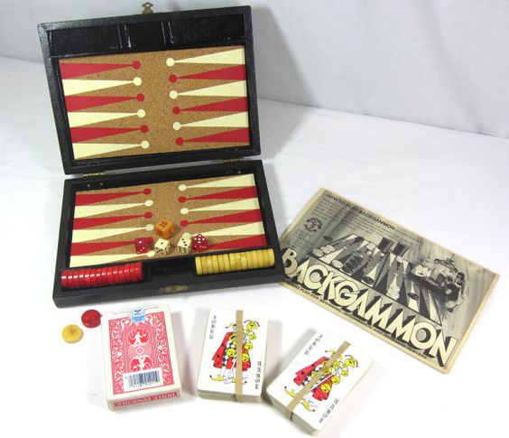 Vintage Backgammon Set Travel Set Bakelite Pieces W. Playing Cards & Instructions via EchoDecoModern on Etsy