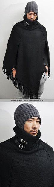Outerwear :: Coats :: Dark Edge Avant-garde Cape Poncho-Coat 18 - Mens Fashion Clothing For An Attractive Guy Look