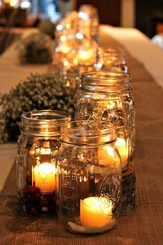 mason jar runner. Love this! Thinking of using lots of candles as centerpieces instead of flowers...