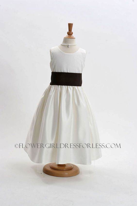 Girls Dress Style 5287-BUILD YOUR OWN DRESS! White or Ivory Dress with Choice of 61 Sash Options! $44.00