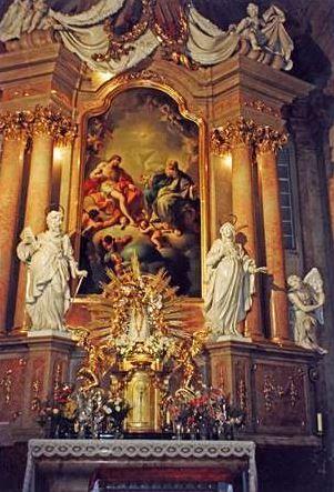 Gottfried Fritsch -oltář poutního kostela Narození Panny Marie ve Vranově u Brna - sv. Jeroným a Anna - po r. 1739