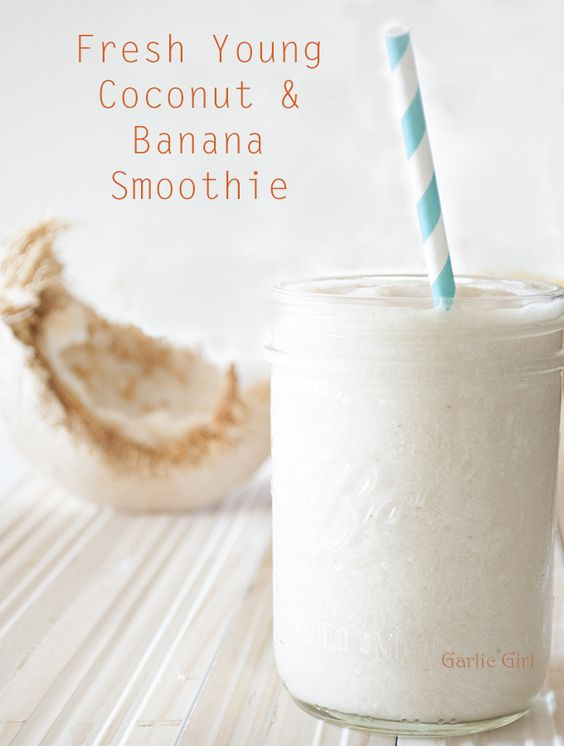 Fresh Young Coconut and Banana Smoothie. More of a mid-morning smoothie when you've got 10 minutes to let the smell of coconut transport your mind to the beach and swaying palm trees!  Also a good dose of tryptophan from the bananas. Enjoy.