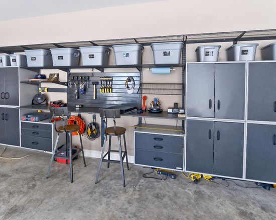 , Contemporary Garage Interior Design With Modern Grey Garage Cabinets And  Drawers Also Grey Concrete Floor And Industrial Barstool Design Also Lig