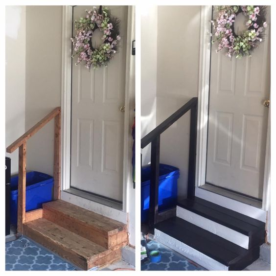 Painted white and stained black garage steps!