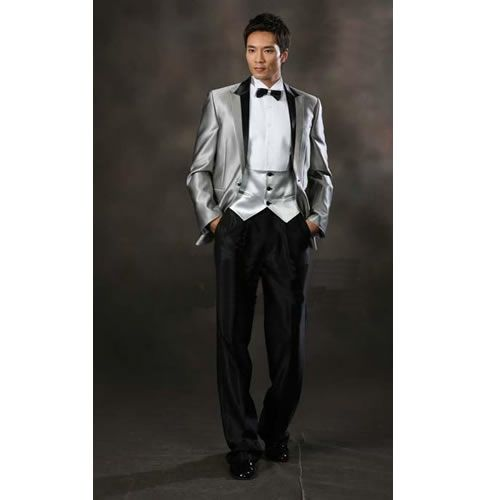 Mens Silver Gray Grey Historical Vintage Edwardian Style Wedding