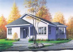 Traditional Style House Plans - 998 Square Foot Home, 1 Story, 2 Bedroom and 1 3 Bath, 0 Garage Stalls by Monster House Plans - Plan 5-157