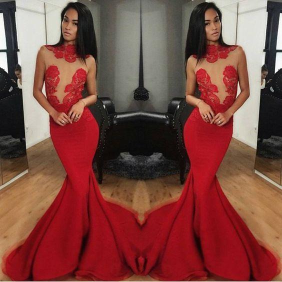 Prom Dress, Hot Sale Red Mermaid Satin Prom